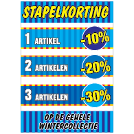 Poster stapelkorting winter blauw STA-103