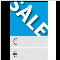 Prijskaartjes Sale blauw met scheurrand PR-0001