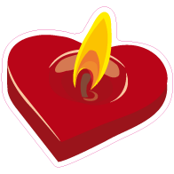 Raamsticker valentijn kaars rood VA-0009