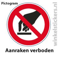 Pictogram 5 stuks 'aanraken' PICTO-007