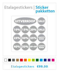 stickerpakket etalagestickers